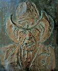 """RARE Portland Sculptor JIM GION Bronze COWBOY Plaque Wall Hanging 12"""" x 15"""" 1990"""