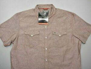 NEW Simms Men's No-Tellum LS Shirt Rusty Red Chambray Size M, L, 2XL