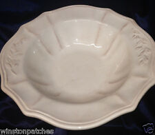 """CHARTER CLUB TABLA CREAM 14 1/4"""" LARGE FOOTED SERVING BOWL EMBOSSED LEAVES"""