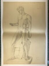 1940s Original Nude Male study pencil by Mary Dickson
