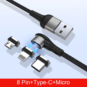 3 IN 1 Magnetic Fast Charging USB Cable 2.4A Type-C Micro USB For IPhone Samsung