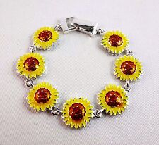 Sunflower bracelet magnetic clasp silver base metal yellow brown flowers 7 inch