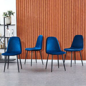 Set of 4 Blue Velvet Dining Chairs Side Office Chair for Dining Room Kitchen