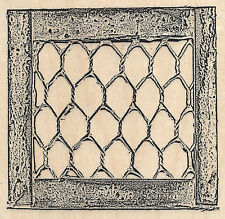 Chicken Wire Wood Frame Wood Mounted Rubber Stamp Impression Obsession NEW H9039