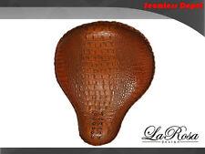 "LaRosa Harley Chopper Bobber Solo Seat - 17"" Brown Alligator Emboss Leather"
