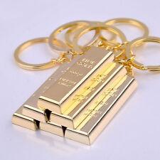 Fashion Metal Fake Gold Bar Ingot Bullion Keychain Key Ring Keyring Keyfob Gift