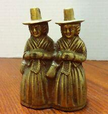 "Solid Brass Bell Puritan Ladies -Twins- 4"" tall"