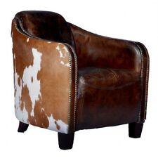 Echtleder Kuhfell Sessel Ledersessel Flair Echtledersessel braun/weiß Kuh Fell