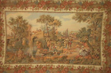 "Tapestry VINTAGE FRENCH COURT SCENE WOVEN GOBELIN WALL HANGING 32""x42"" TOP"
