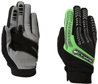 Buffalo Focus Mens Black Green Leather Textile Motocross Motorcycle Gloves