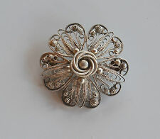 Vintage Handmade Silver or Silver Plated Filigree Layered Flower Brooch Pin