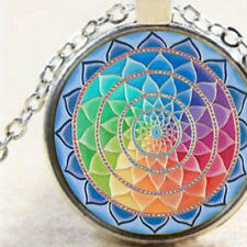 New Chakra Mandala Pendant Necklace, Sacred Geometry, Spiritual Lotus, Jewellery