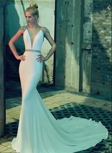 $2000 Calla Blanche 'LIZ' Embellished Sheath Wedding Dress Gown Size 8