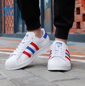 *New* Adidas Men's Originals Superstar Sneakers FV3033 White/Red-Blue Size 9