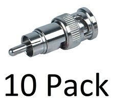 10 Pack - BNC Male to RCA Male Coupler Adapter Connector for CCTV