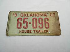 Vintage retro 1967 American car number plate 65 096 HOUSE TRAILER OKLAHOMA .