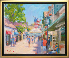 BANNISTER'S WHARF IN NEWPORT~LISTED ARTIST~ORIGINAL OIL PAINTING MARC FORESTIER