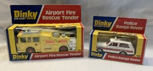 Dinky Airport Fire Rescue Tender and Police Range Rover