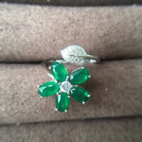 Gorgeous Natural Colombian Emerald and Zircon Ring Sterling Silver 925 Wedding
