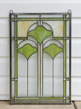 "16"" x 24"" Handcrafted Ginkgo style stained glass window panel"