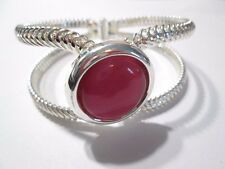 Silver Tone Plated Metal Textured Clamper Bracelet W Pink Cats Eye Style Stone