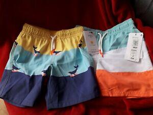 BNWT M&S Boys 2x  Age 4 - 5 Years Colour Block Swimming Trunks Shorts