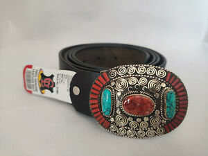 Sterling Silver Mens Belt Buckle Leather waist trap Turquoise Coral Stone B11