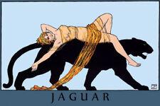 "JAGUAR and his Lady.  Large Art Deco Vintage 20"" X 30"" Poster Repro FREE S/H"