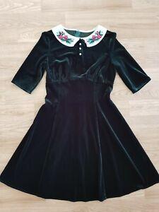 Hell Bunny Mini Dress Green 'Merrily' Size S 10 - Christmas Festive Holly Velvet