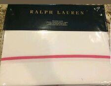 "Ralph Lauren ""Palmer"" 1pc King Duvet Cover White Monaco Pink nip $370"