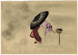 Chinese theme drawing Figures Umbrella Lantern by unknown artist