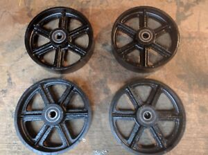 """Industrial 8""""/200mm cast iron caster wheels for industrial furniture. Set of 4."""
