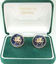 WALES DRAGON £1 Cufflinks made from real coins in BLUE & GOLD