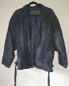 Vintage Valina 80s Oversized Black Marble Soft Leather Jacket Size L / 16