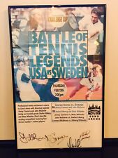 John McEnroe & others signed USA/Sweden tennis poster
