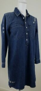 LUCKY BRAND~Women's  Size S~Blue Denim Jean Mini Dress Button-Front HANDCRAFTED.