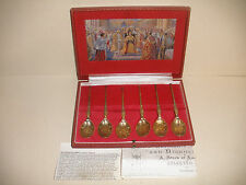 Rare Vintage Sterling Silver English Coronation Anointing 6 Spoon set S.J Rose