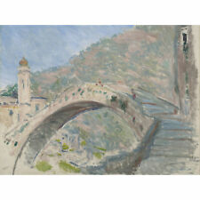 Claude Monet Bridge At Dolceacqua 1884 Painting XL Wall Art Canvas Print