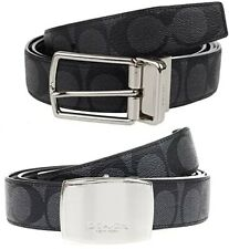 Coach Cut-To-Size Reversible Belt In Signature Canvas 30mm- Charcoal Black