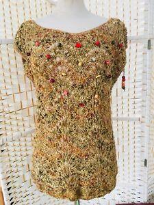 Vintage French Designer Collette Nivelle 90s Gold Knit 12 /14 Hand Crocheted Top