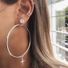 Big Small Round Hoops Cross Ring Crystal Earrings Women Girls Earings Bling Set