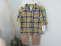 Carter's Boy's 18M Plaid Shirt Tan Pants Outfit - Full Elastic Waist
