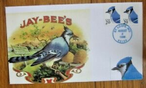 BLUE JAY BIRDS 1996 UNOFFICIAL F.D. CANCEL H&M CACHET #1 0F 8 MADE FDC VF UNADDR