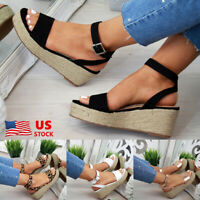 WOMENS PLATFORM LOW HEEL WEDGE SANDALS LADIES ESPADRILLES SUMMER STUDDED SHOES