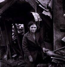 New WW2 World War II 8x10 Photo: Girl British Flag Battersea England 1945 V-2