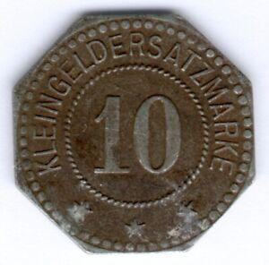 Kleingeldersatzmarke 10 Pfennig o.D. Woldenberg (Neumark) 8eckig, ss