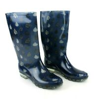 Toms Rain Boots Women's 10 Rubber Geometric Blue Black  Rain Drop Shoe