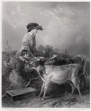 """Soft 1800s Richard ANSDELL Antique Engraving """"In the Pasture"""" SIGNED Framed COA"""