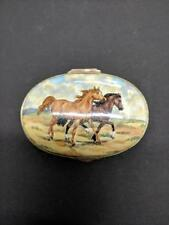 Crummles Hand Painted English Enamel Trinket container with Box