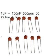 50value 500pcs Ceramic Capacitors Disc 50V Assortment Kit 1pF - 100nF